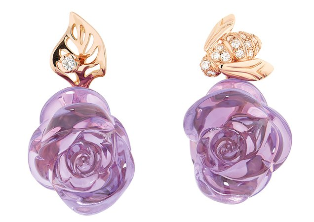 Dior purple rose earrings