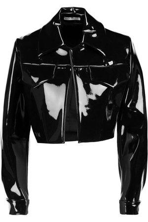 black latex cropped jacket