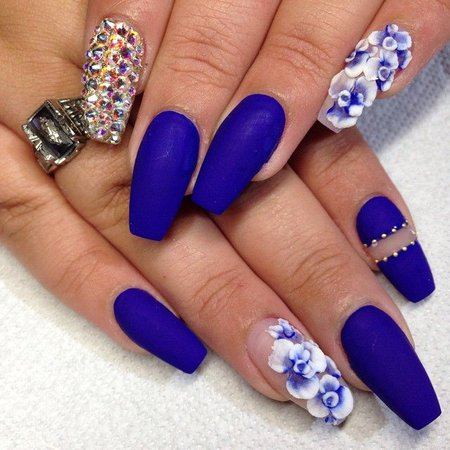 nails blue and white flowers - Google Search