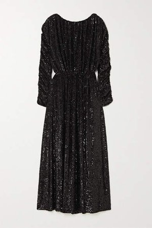 Sequined Jersey Maxi Dress - Black