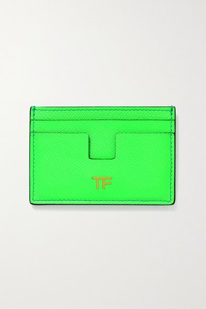 Textured-leather Cardholder - Lime green