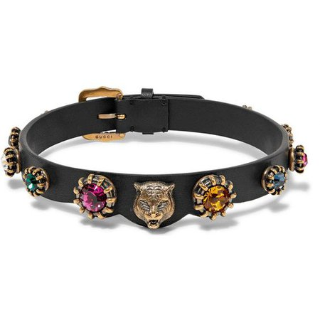 Gucci Burnished gold-tone, leather and crystal choker ($715)