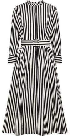 Belted Striped Cotton-poplin Midi Dress