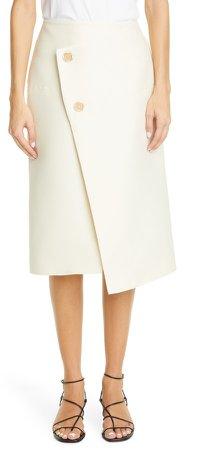 Button Detail Wool Blend Skirt