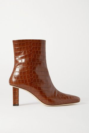 Brando Croc-effect Leather Ankle Boots - Tan