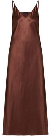 Clea V Neck Satin Slip Dress - Womens - Brown