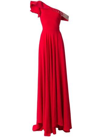 Saiid Kobeisy one shoulder embellished dress red RSRT2014 - Farfetch