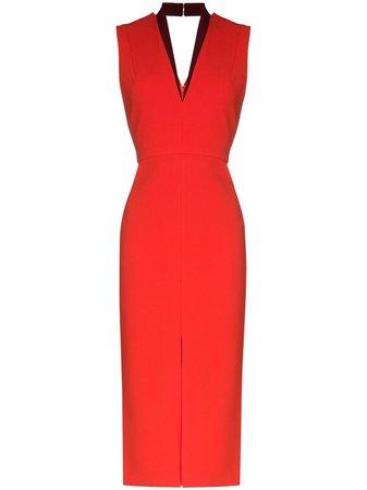 Victoria Beckham V-neck Fitted Midi Dress - Farfetch