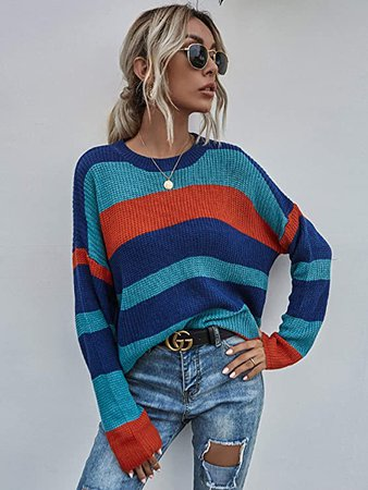 SweatyRocks Women's Casual Color Block Long Sleeve Tops Knit Pullover Shirts Sweater at Amazon Women's Clothing store
