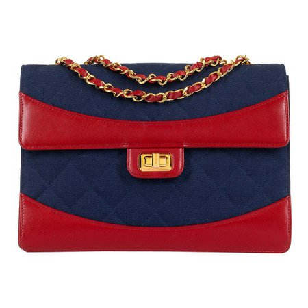WOW Chanel Vintage Navy Quilted Jersey/Red lambskin 23cm bag by Karl Lagerfeld For Sale at 1stdibs