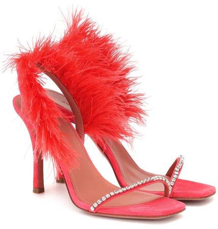 AMINA MUADDI Red Feather Adwoa Heels