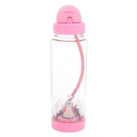 Miss Glitter the Unicorn Snowglobe Water Bottle - Pink | Claire's