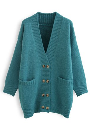 Pockets Double-Breasted Longline Cardigan in Turquoise - Retro, Indie and Unique Fashion