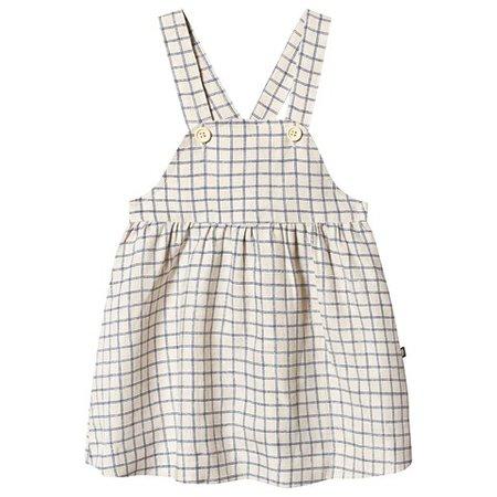 Oeuf Beige And Blue Checks Overall Dress | AlexandAlexa