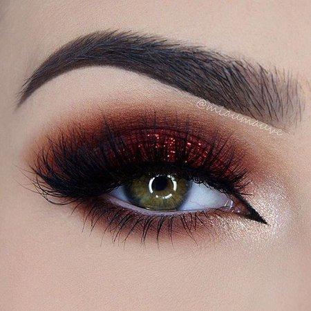 dark red eye makeup