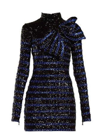Sequinned striped mini dress | Balmain