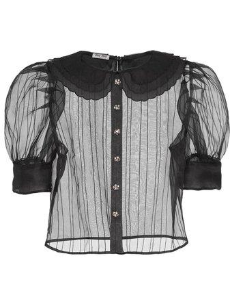 Miu Miu, puffed short-sleeve sheer blouse