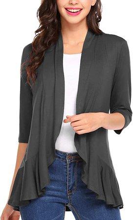 Zeagoo Women's Open Front Cardigan 3/4 Sleeve Draped Ruffles Kimono Soft Knit Sweaters Dark Grey at Amazon Women's Clothing store