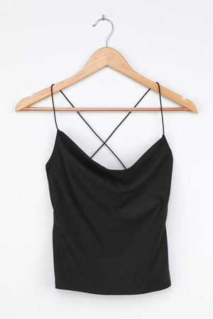 Black Cowl Neck Tank - Sleek Cami Top - Sexy Cowl Neck Tank Top