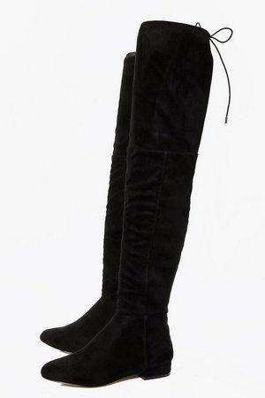 Flat Tie Back Thigh High Boots   boohoo