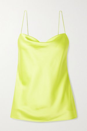 Green The Axel Acid draped neon stretch silk-charmeuse camisole | Cami NYC | NET-A-PORTER