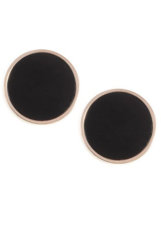 Black Circle Stud Earrings Rose Gold - Happiness Boutique