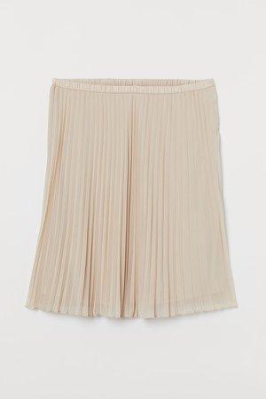 H&M+ Pleated Skirt - Beige
