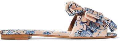 Johanna Ortiz Camilla Bow-embellished Floral-print Satin Slides - Pink
