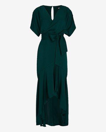 Asymmetrical Belted Wrap Front Ruffle Dress