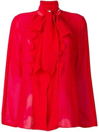 pleated long-sleeve blouse