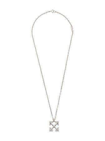 Off-White Arrow-pendant brass necklace - FARFETCH