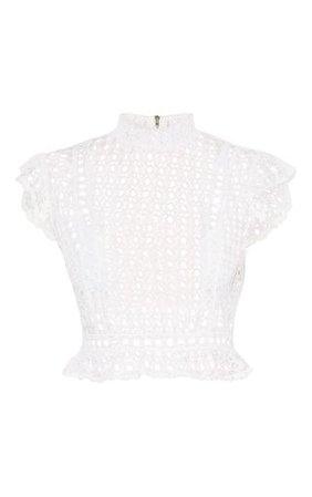 White Crochet High Neck Sleeveless Blouse | PrettyLittleThing