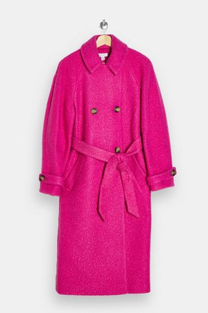 Bright Pink Boucle Trench | Topshop