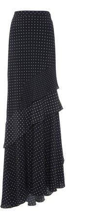 Max Mara Navata Polka-Dot Silk Flounce Maxi Skirt Size: 0