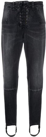 laced stirrup-hem jeans