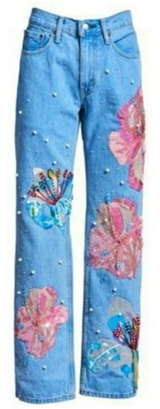 Jeans with flower embroidery