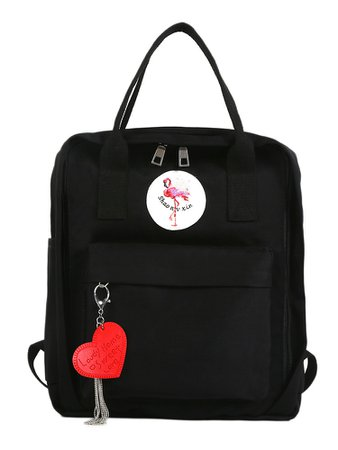 Flamingos Embroidered Backpack With Heart Charm