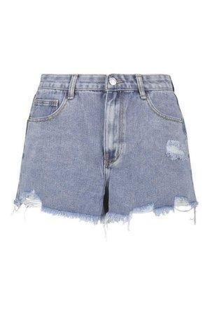 Mid Rise Frayed Hem Jean Shorts | boohoo