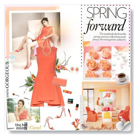 coral print summer outfits polyvore - Google Search