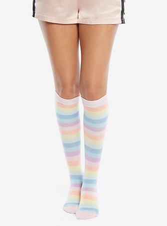 Pastel Rainbow Striped Knee-High Socks