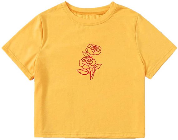 MakeMeChic Women's Short Sleeve Cute Print Crop Top Summer Tee Shirt White D L at Amazon Women's Clothing store