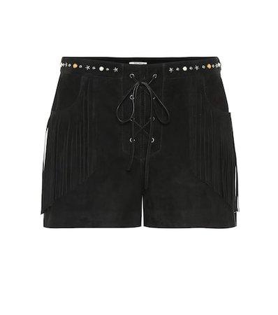 Fringed suede shorts