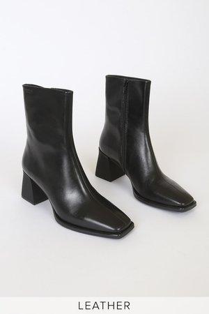 Vagabond Hedda Black - Leather Boots - Square-Toe Boots - Lulus