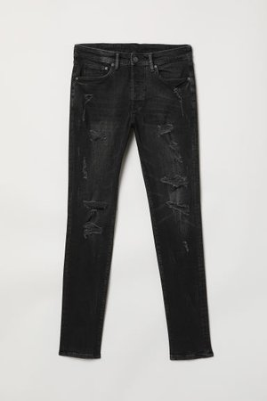 Trashed Skinny Jeans - Black washed out - Men | H&M US