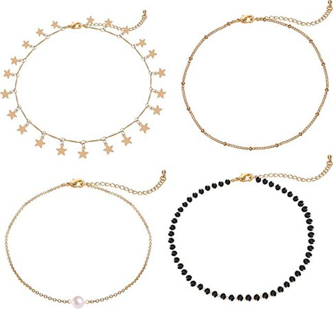 Amazon.com: Lateefah Gold Star Pearl Choker Necklace -4 Pieces Set Dainty Pendant Handmade Necklace for Women Girls: Jewelry