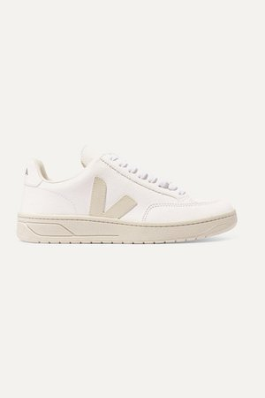 V-12 Textured-leather Sneakers - White