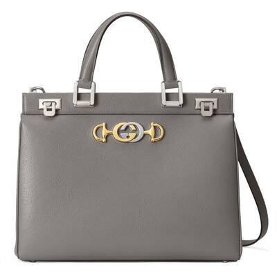 Dusty Grey Grainy Leather Gucci Zumi Medium Top Handle Bag | GUCCI® US