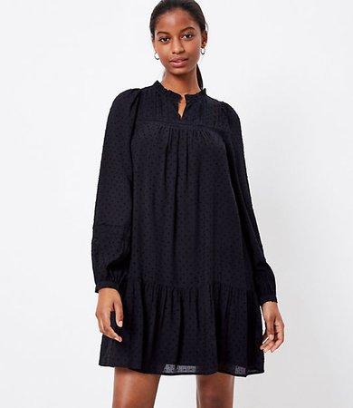 Petite Dotted Lacy Ruffle Swing Dress