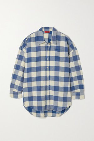 Checked Cotton-flannel Shirt - Blue
