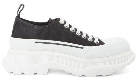 Chunky-sole Canvas Trainers - Black White